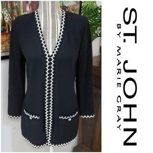 St John sz S Petite Black w/ Wht  Blazer Coat